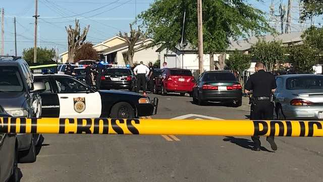 Police investigate a drive-by shooting on Sunday, April 30, 2017, in south Sacramento.