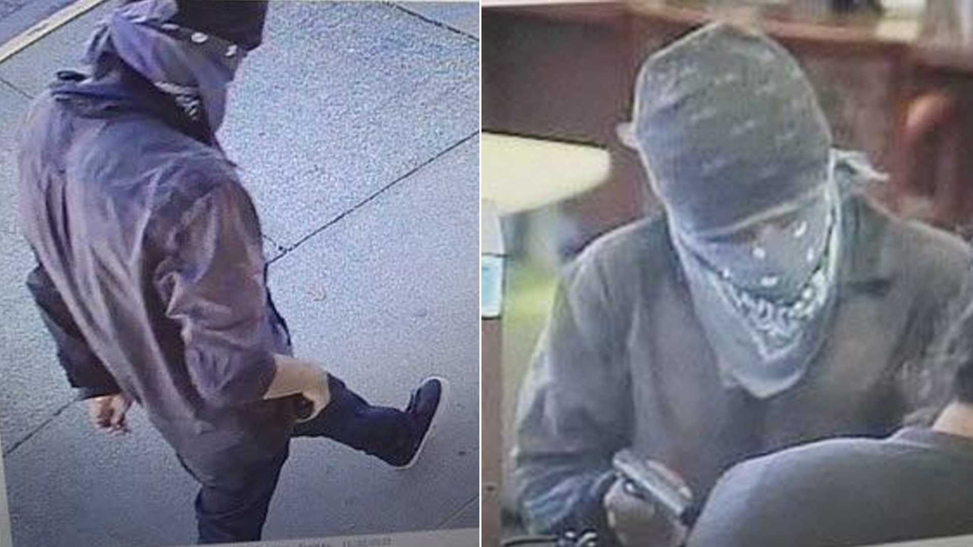 Deputies are looking for a man who robbed the Exchange Bank in Roseland at gunpoint on Monday, Nov. 21, 2016. These are surveillance photos from the robbery.