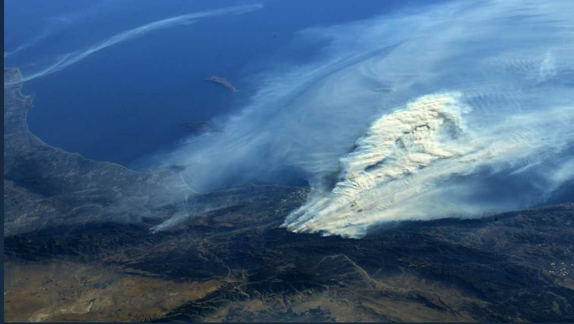 Southern California wildfires seen from space