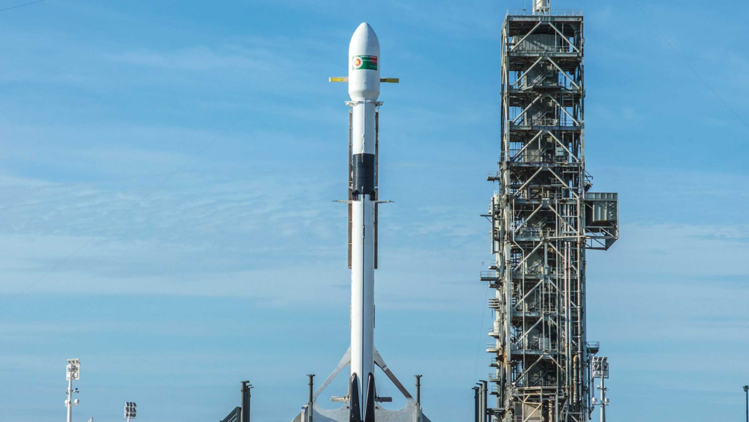 The SpaceX Falcon 9 rocket is readied for launch at Kennedy Space Center in Florida.