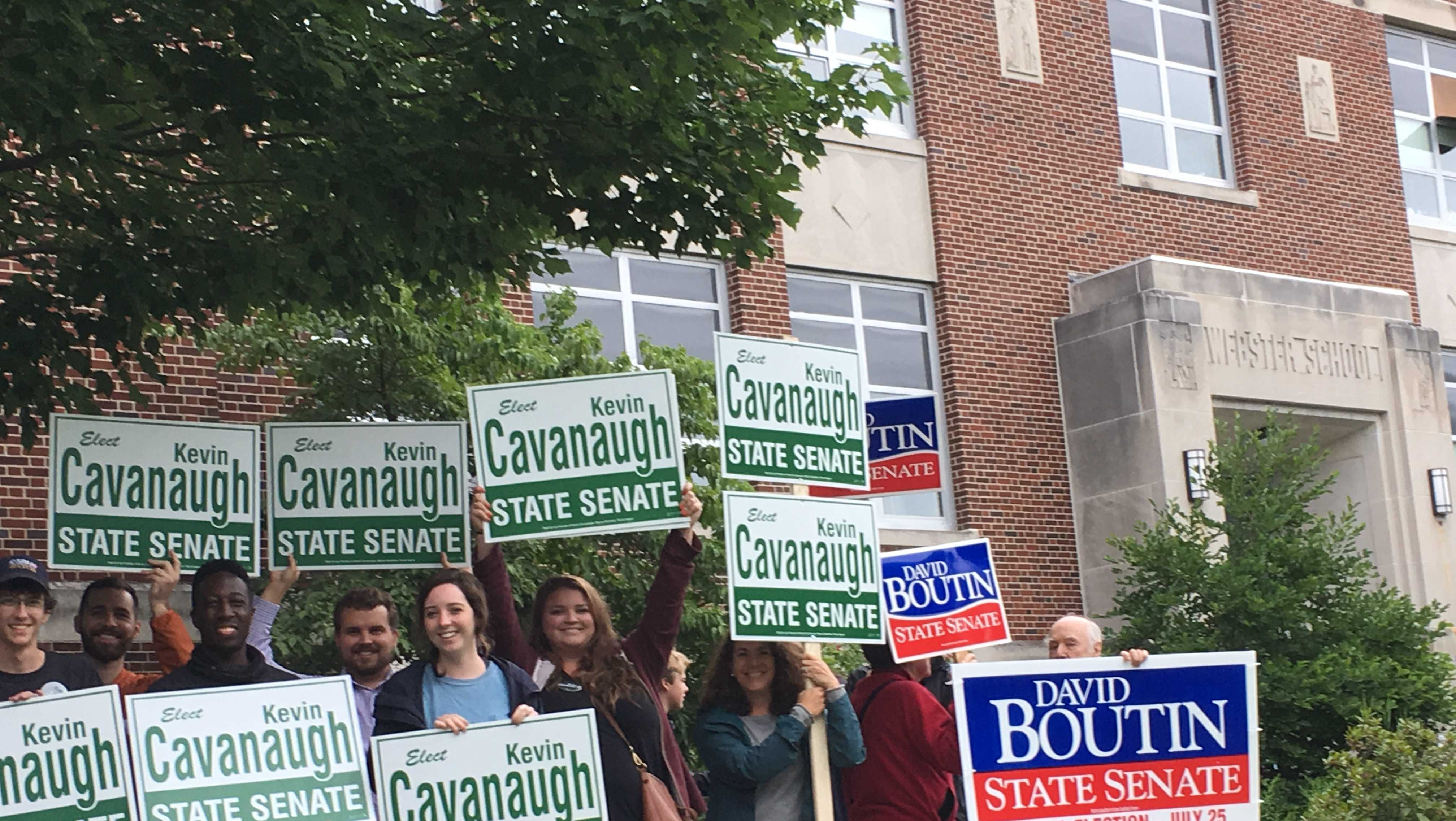 Volunteers gathered outside the Webster School in Manchester for the state Senate special election in District 16.