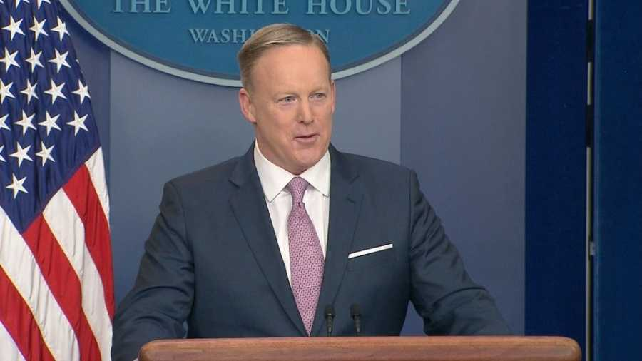 Sean Spicer faces questions from reporters for the first time in his first White House press briefing Monday, Jan. 23, 2017.