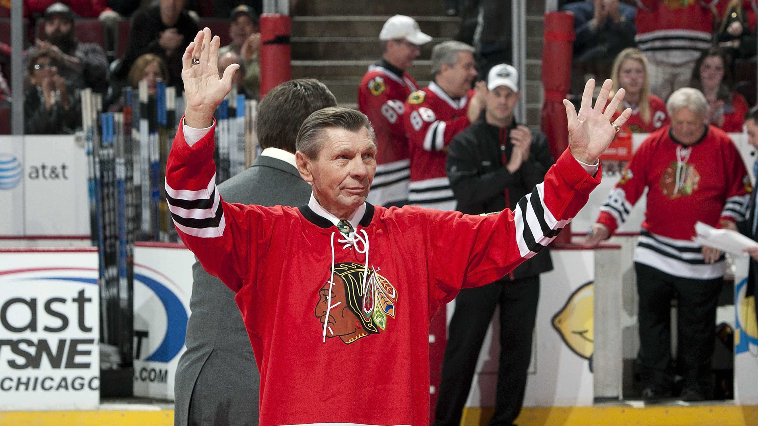 CHICAGO, IL - JANUARY 09: Former Chicago Blackhawks player, Stan Mikita, of the 1961 Stanley Cup Championship team is honored before the game against the New York Islanders on January 9, 2011 at the United Center in Chicago, Illinois.