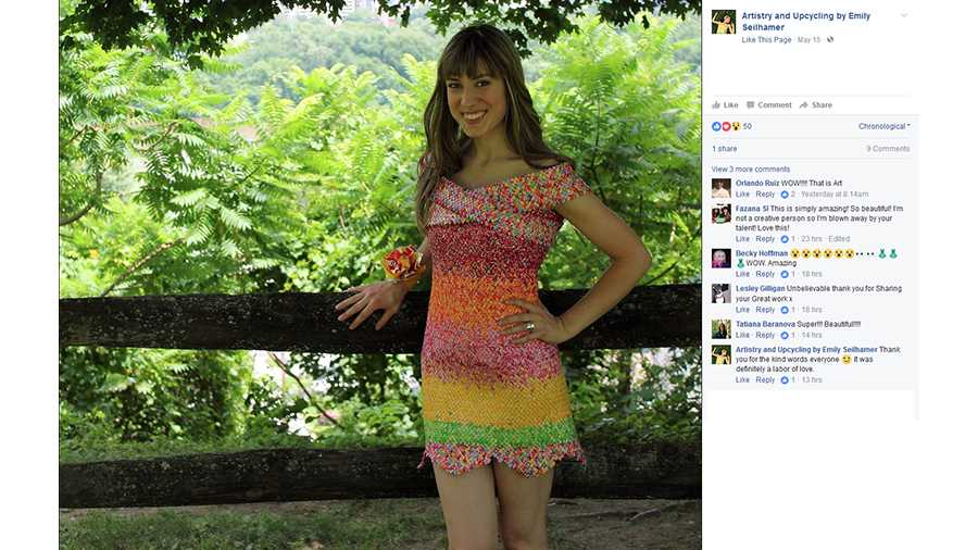 Emily Seilhamer created a dress from Starburst candy wrappers.
