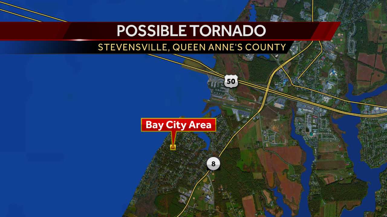 Possible tornado throws boats into yards on Maryland's Eastern Shore