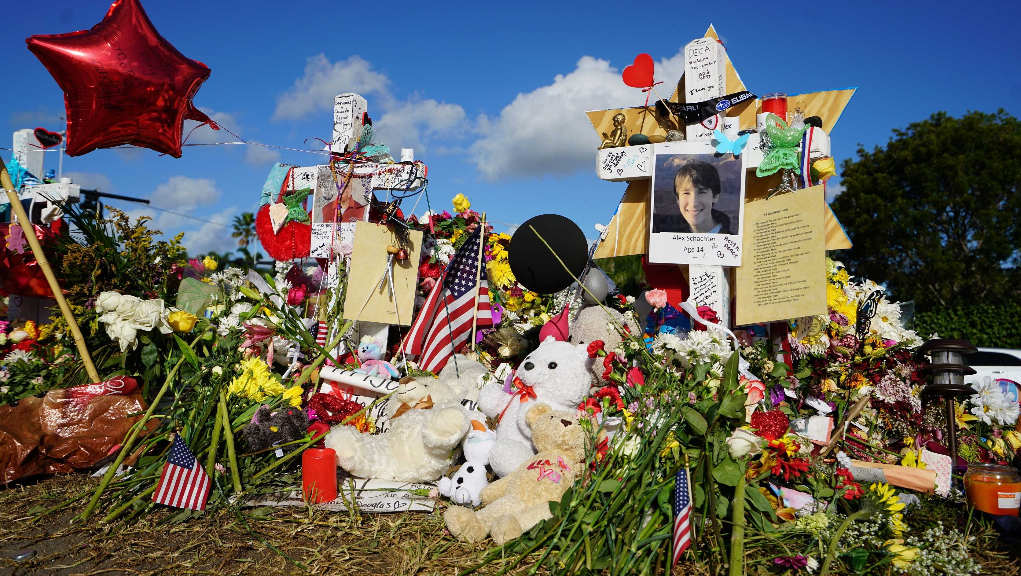 Memorial for slain students in Parkland, Florida. Marjory Stoneman Douglas High School is located in the Miami metropolitan area andpart of the Broward County Public School district.