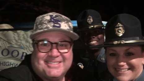 Eric Stonestreet gets a ride from troopers, makes donation
