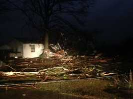 Severe damage in Hattiesburg, Miss., after a tornado ripped through the area Jan. 21, 2017.