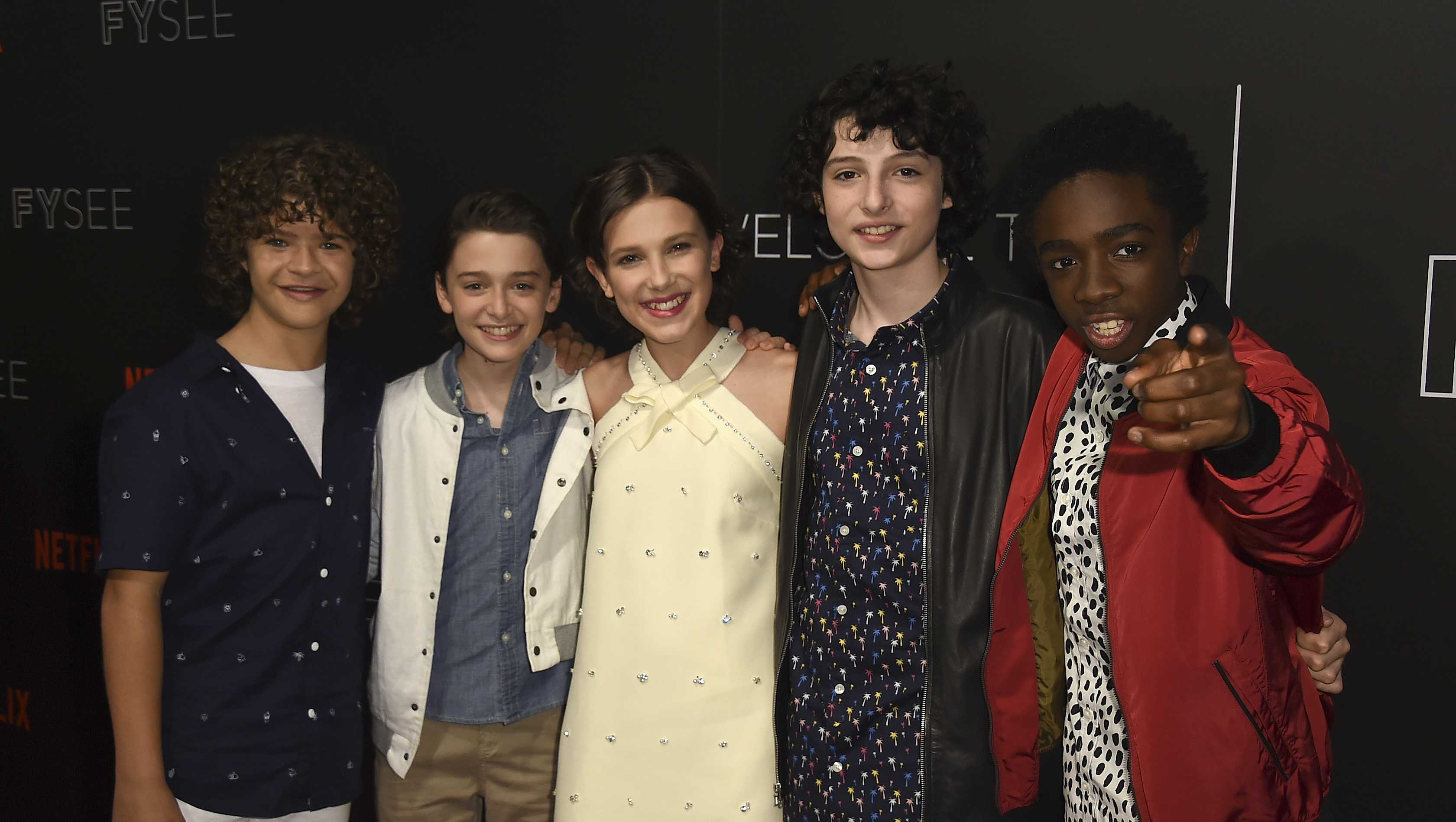 "From left, Gaten Matarazzo, Noah Schnapp, Millie Bobby Brown, Finn Wolfhard and Caleb McLaughlin arrive at the ""Stranger Things"" FYC Event on Tuesday, June 5, 2017 in Beverly Hills, Calif."