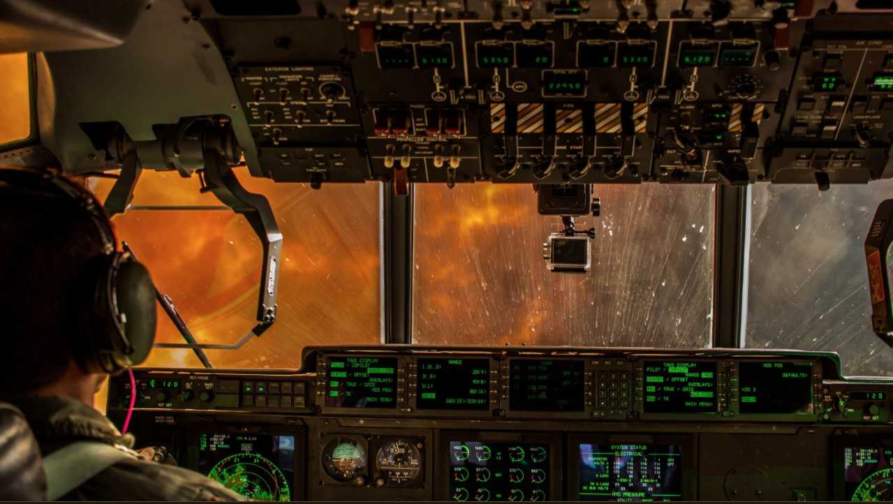 This photo shows the inside a California Guard strike team's aircraft battling the Pier Fire.