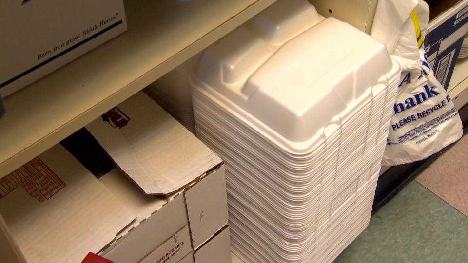 Styrofoam takeout containers