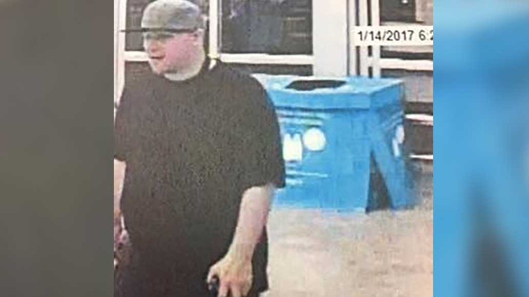 Surveillance photos from a Suisun City Walmart show a man suspected of breaking into a woman's vehicle, stealing her debit card and using it at the store, the Suisun City Police Department said.