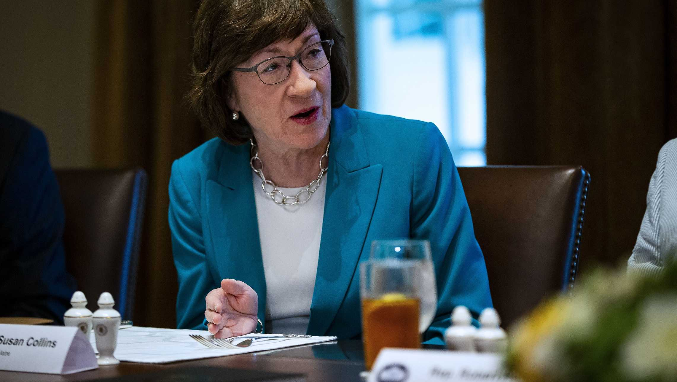 U.S. Sen. Susan Collins (R-ME) attends a lunch meeting for Republican lawmakers in the Cabinet Room at the White House on June 26, 2018.
