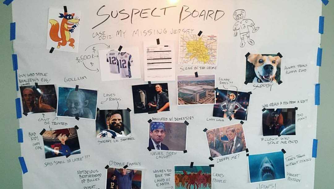 Tom Brady's suspect board