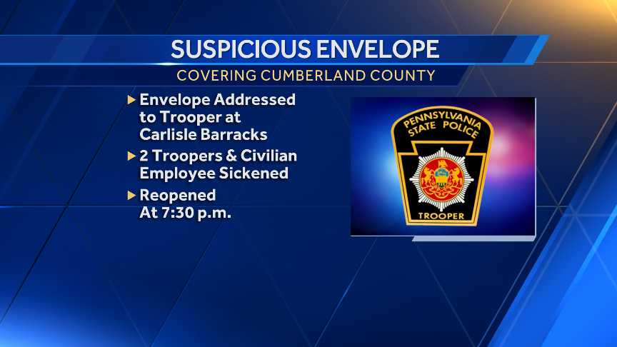 Suspicious envelope sent to state police