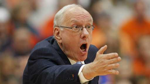 Syracuse head coach Jim Boeheim yells to his players in the second half of an NCAA college basketball game against Georgia Tech in Syracuse, N.Y., Saturday, March 4, 2017. Syracuse won 90-61. (