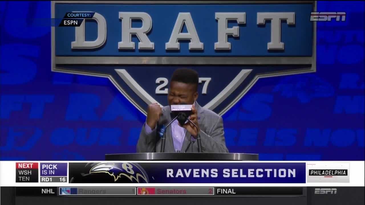 T.J. Owuanibe got his wish: The 14-year-old shared center stage with NFL Commissioner Roger Goodell to announce the Baltimore Ravens' top draft pick.