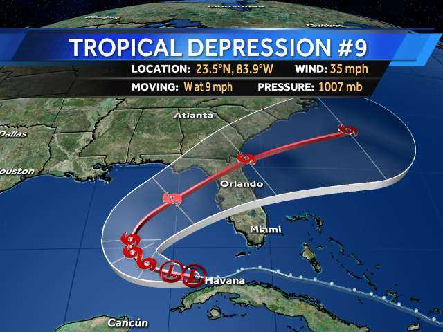 Tropical Depression 9 could reach Gulf of Mexico today