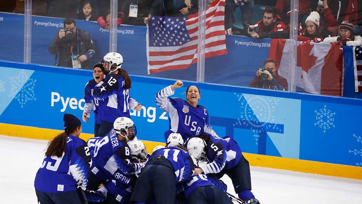 United States celebrates winning the women's gold medal hockey game against Canada at the 2018 Winter Olympics in Gangneung, South Korea, Thursday, Feb. 22, 2018.