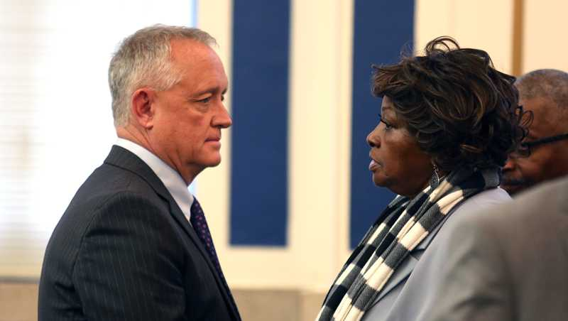 Hamilton County Prosecutor Joe Deters speaks with Sam Dubose's mother Audrey Dubose during the Ray Tensing trial Nov. 3, 2016.​​​
