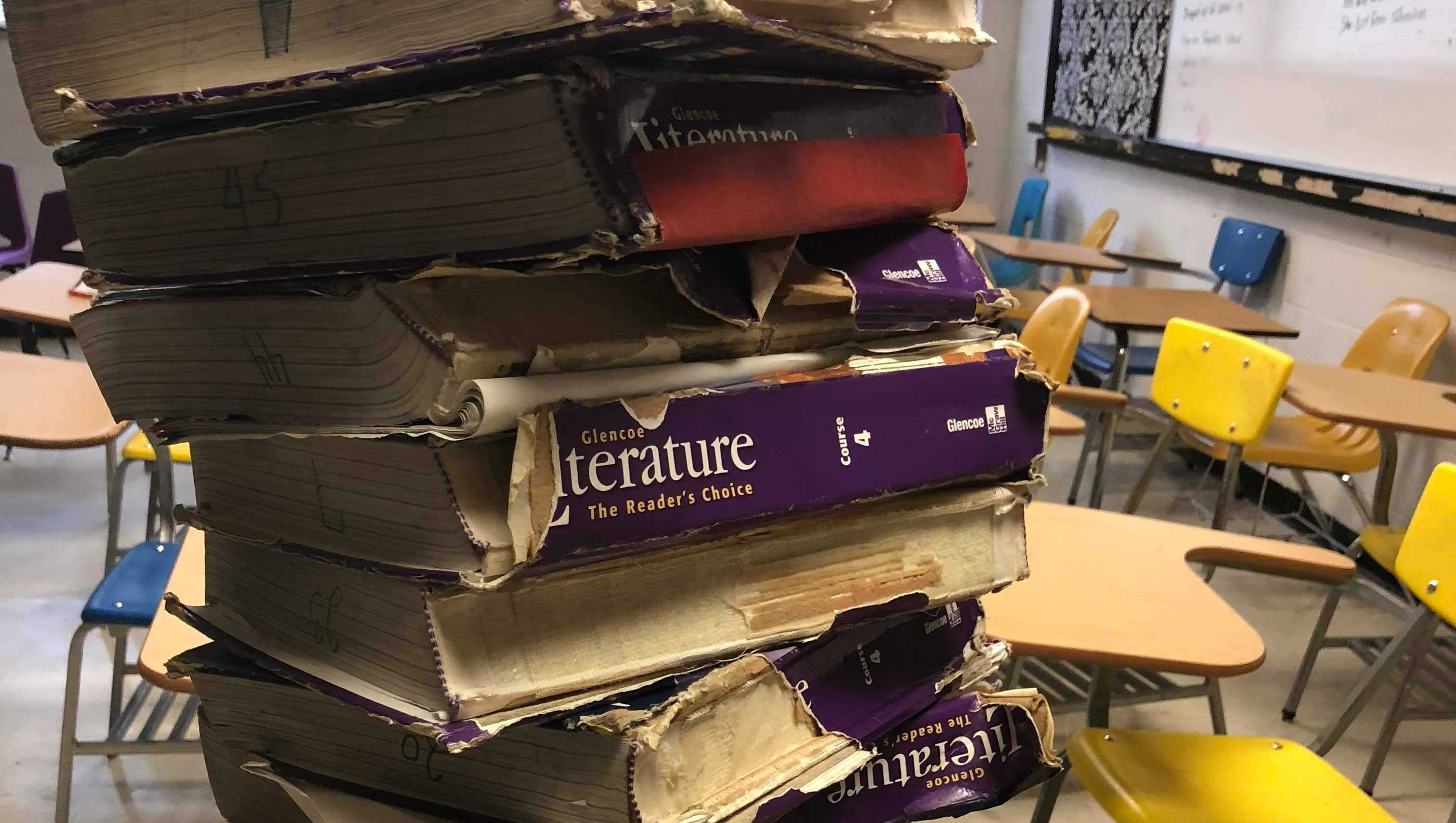 Sarah Jane Scarberry, teacher at Heavener High School, Oklahoma, took these photos of crumbling textbooks and desks at her school.