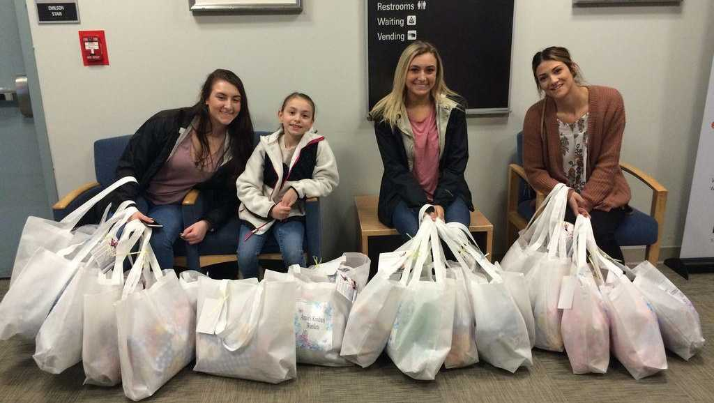 Abington residents Angela, 18, Christina, 16, and Mia, 7, started Annie's Kindness Blankets to spread love to others after their mother died.