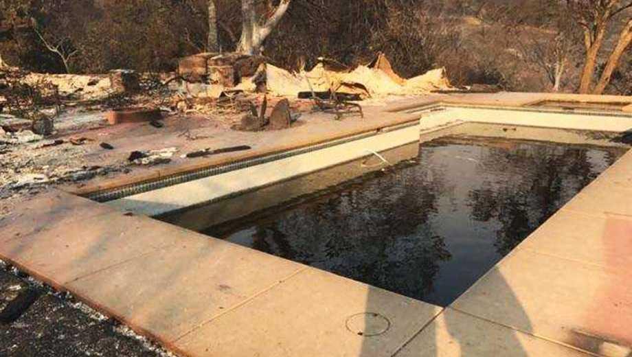 The Santa Rosa swimming pool where Armando Berriz and Carmen Caldentey Berriz couple took shelter during the wildfire.