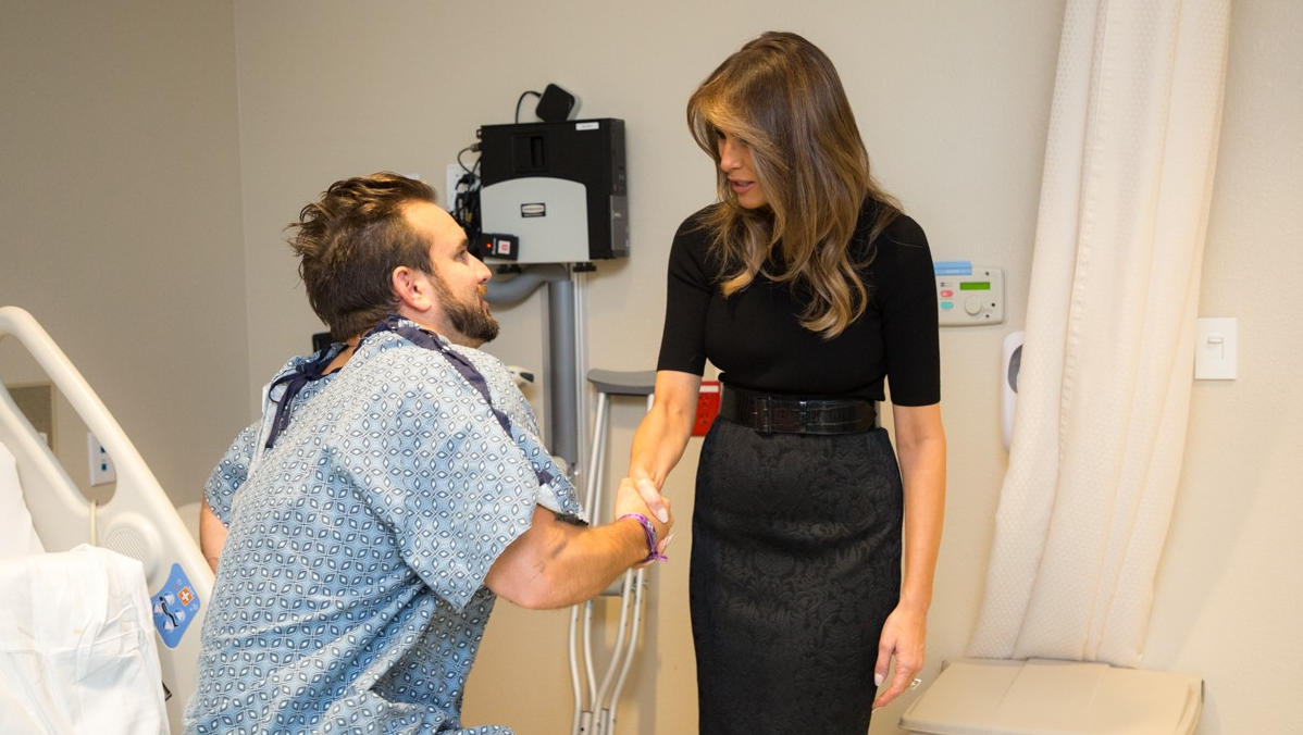 President Donald J. Trump and First Lady Melania Trump visit with patient Thomas Gunderson of Newport Beach, Calif., and members of his family, Wednesday, October 4, 2017, at the University Medical Center of Southern Nevada, who was injured in the mass shooting, Sunday, October 1, 2017, in Las Vegas, Nevada.
