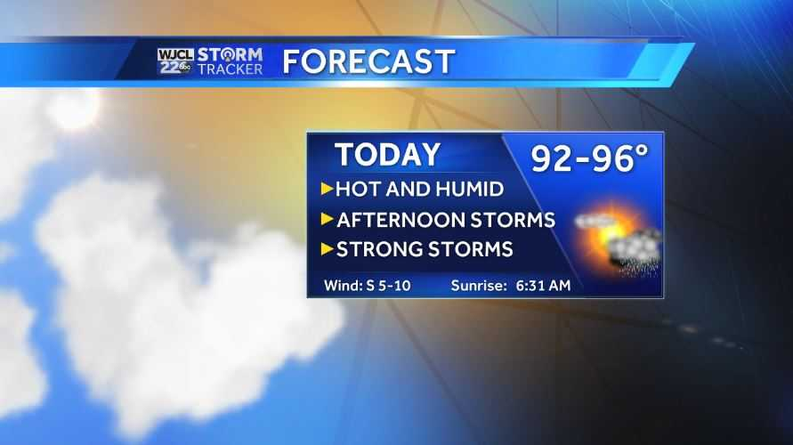 Hot and humid with afternoon thunderstorms on Monday