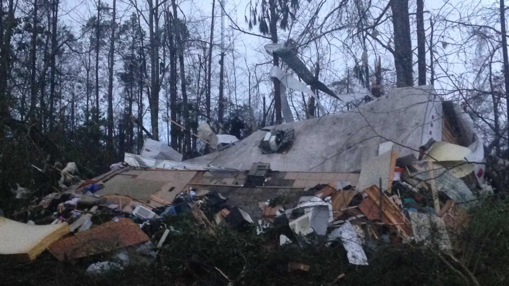 A camper is destroyed after a deadly tornado ripped through the Hattiesburg, Miss., area early Saturday, Jan. 21, 2017.​