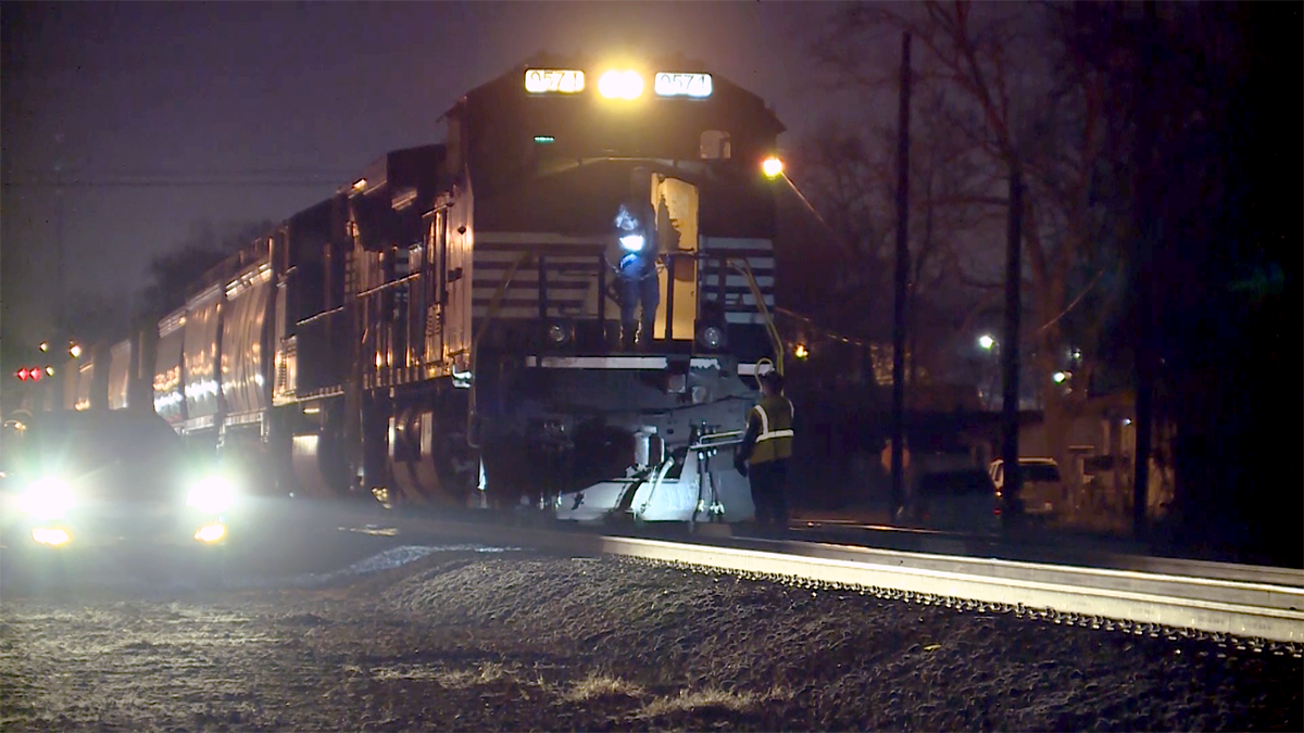 A train hit a car at a crossing in Birmingham Wednesday night, March 8, 2017.