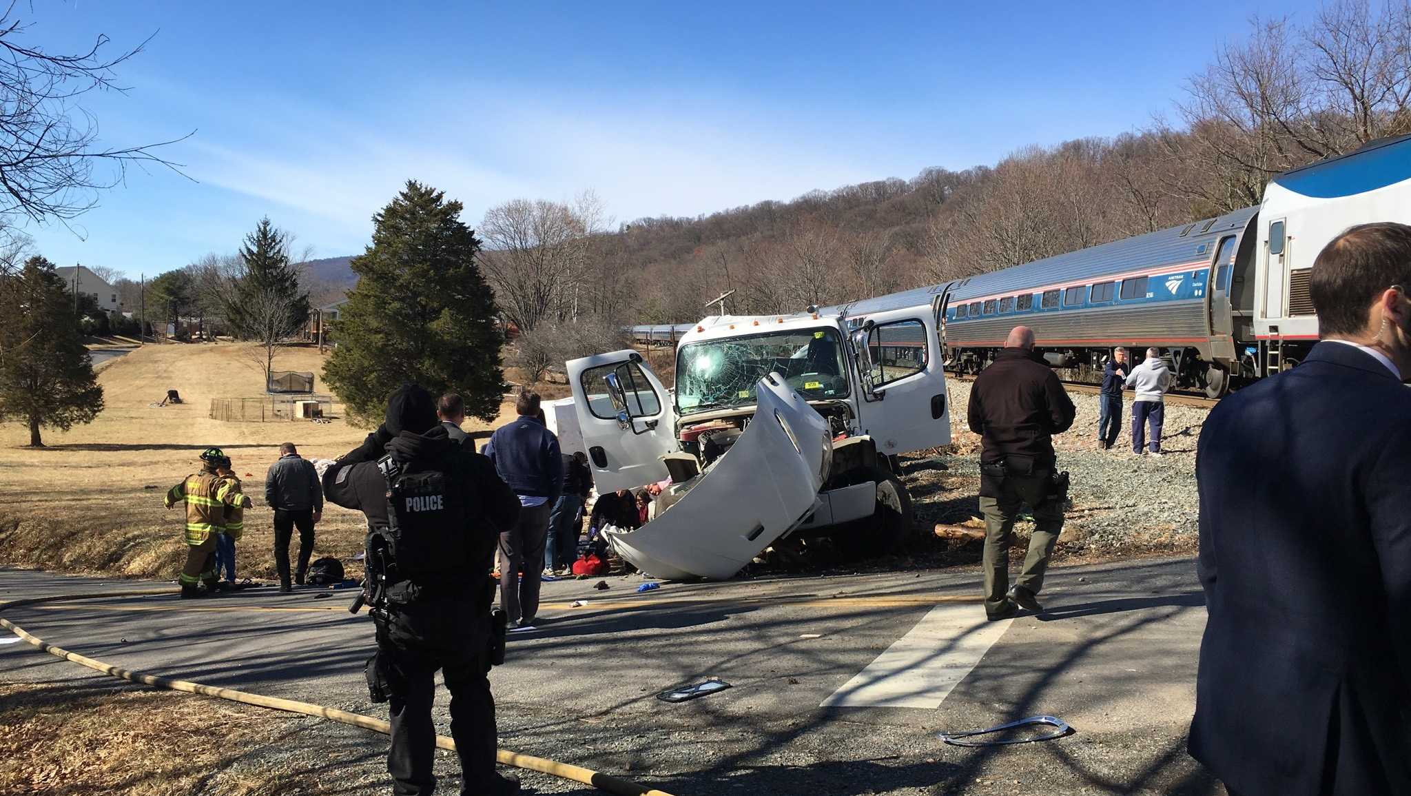 The scene of an accident involving a truck and a train carrying GOP members of Congress in Virginia on Jan. 31, 2018.