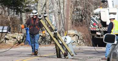 Broken power pole, transformer on North St. in Mattapoisett