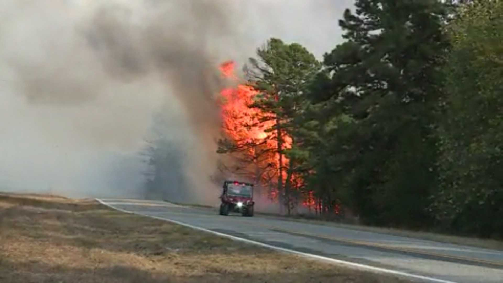 This shows the wildfire off Highway 96 in Franklin County, a half-mile east of the Sebastian County line.