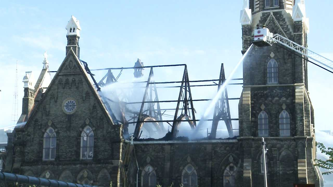 Trinity Evangelical Lutheran Church, the oldest Lutheran church in Milwaukee and the second-oldest Missouri Synod Congregation in Wisconsin, was engulfed in flames Tuesday afternoon.