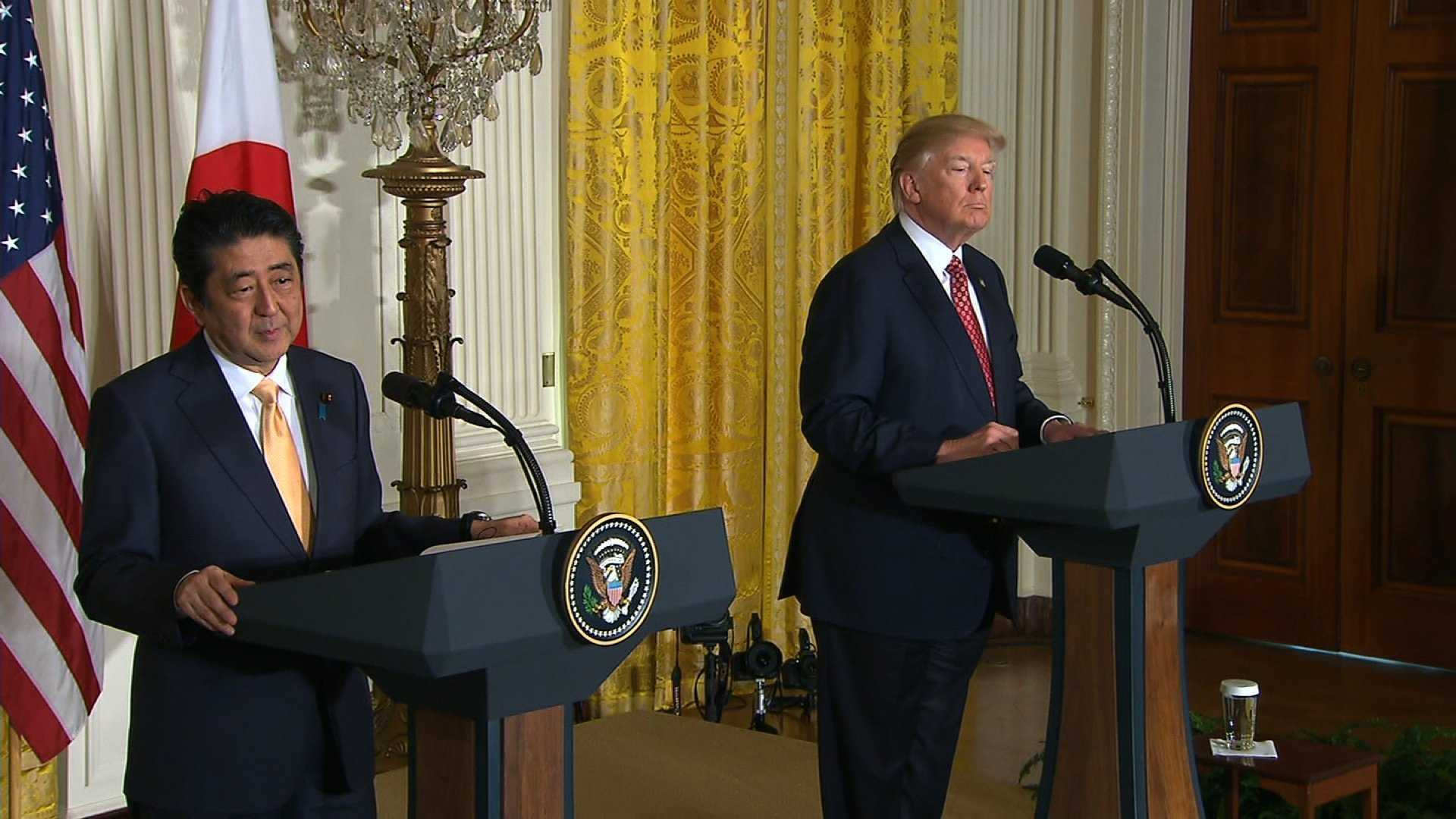 President Donald Trump and Japanese Prime Minister Shinzo Abe hold a joint press conference Friday, Feb. 10, 2017.