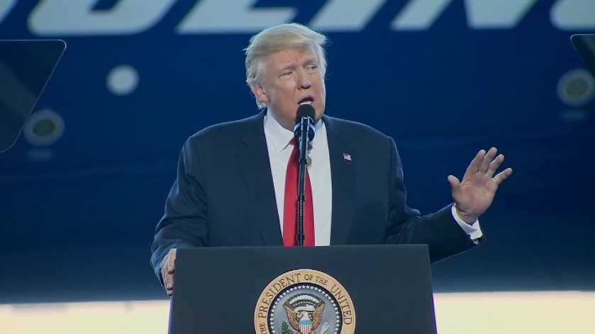 President Donald Trump speaks at a Boeing facility in South Carolina