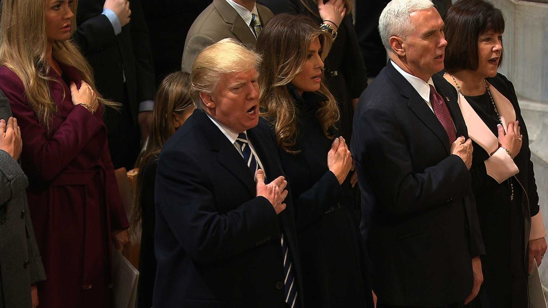 President Donald Trump at the National Cathedral for the 58th Presidential Inaugural Prayer Service on Jan. 21, 2017.