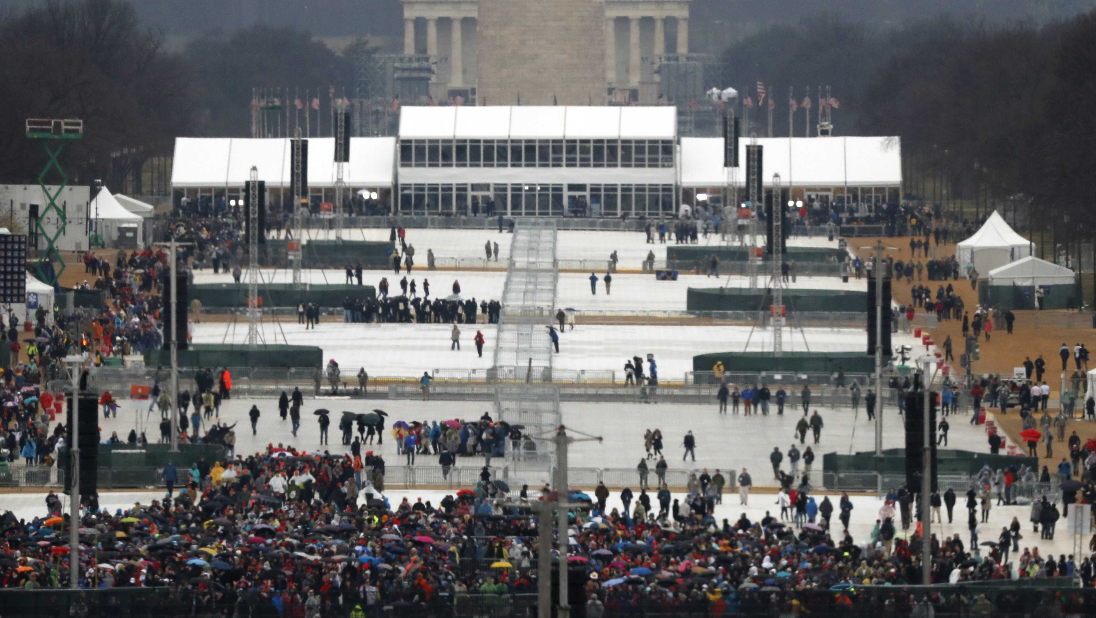 The crowd fills in at the National Mall for the inauguration ceremony of Donald Trump on Friday, Jan. 20, 2017.