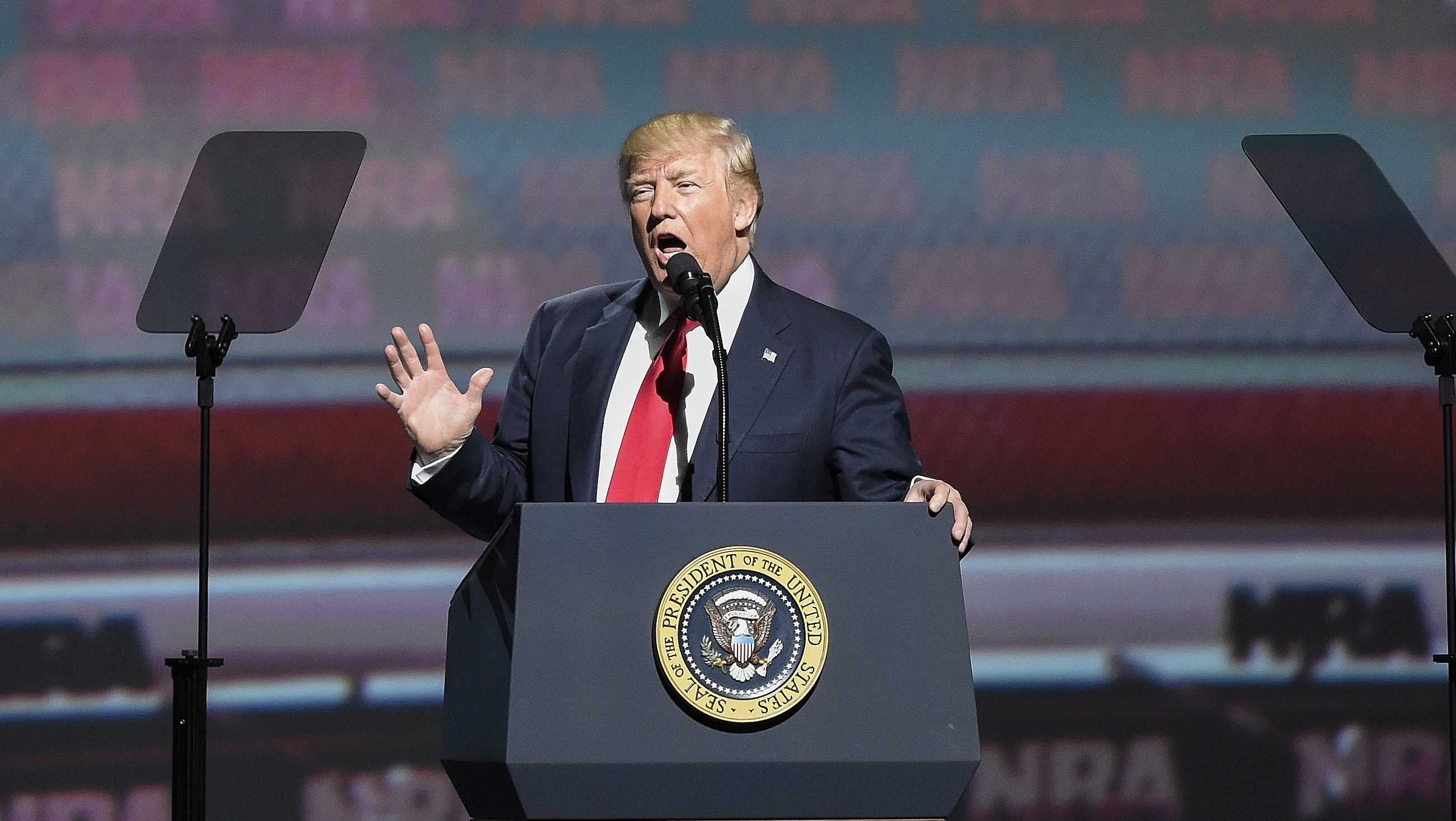President Donald Trump speaks during the National Rifle Association-ILA Leadership Forum, Friday, April 28, 2017, in Atlanta.