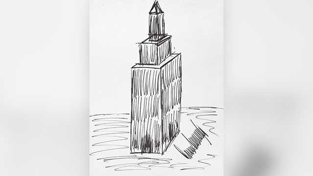 This image provided by Julien's Auctions shows a sketch of the Empire State Building drawn by President Donald Trump that sold for $16,000 at auction on Oct. 19, 2017.