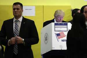 Republican presidential candidate Donald Trump votes in New York.