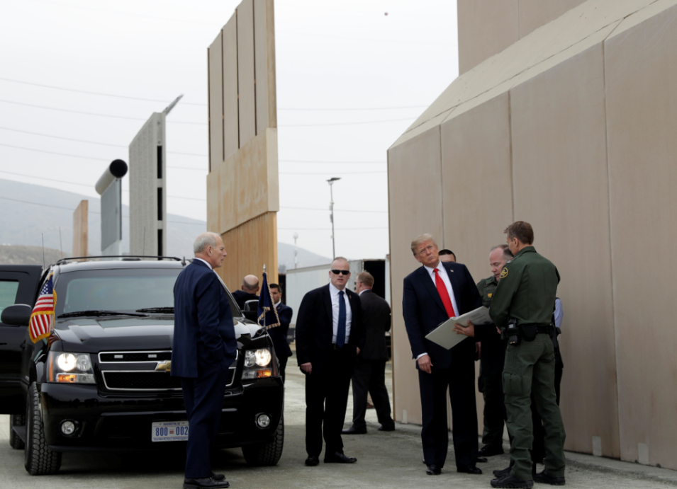 President Trump examines prototypes for border wall amid protests