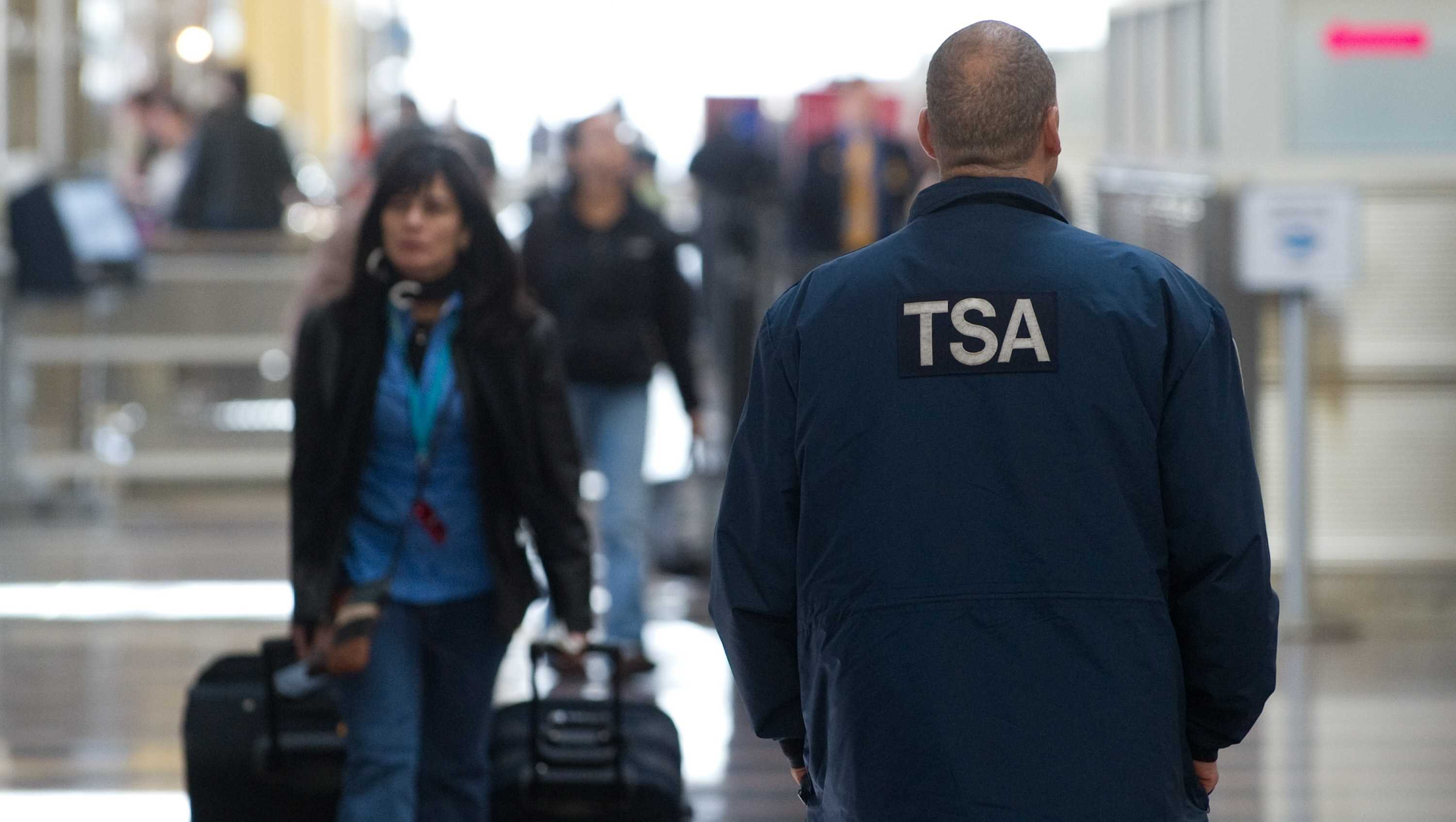 A Transportation Security Administration agent walks through the terminal at Ronald Reagan Washington National Airport in Arlington, Virginia, November 6, 2010.