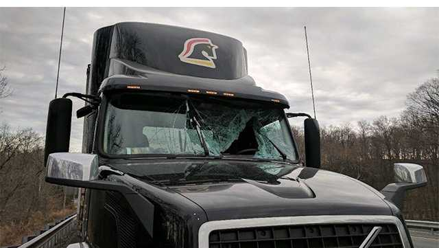 A bird crashing through the windshield of a tractor-trailer led to an accident Monday morning in Harford County.