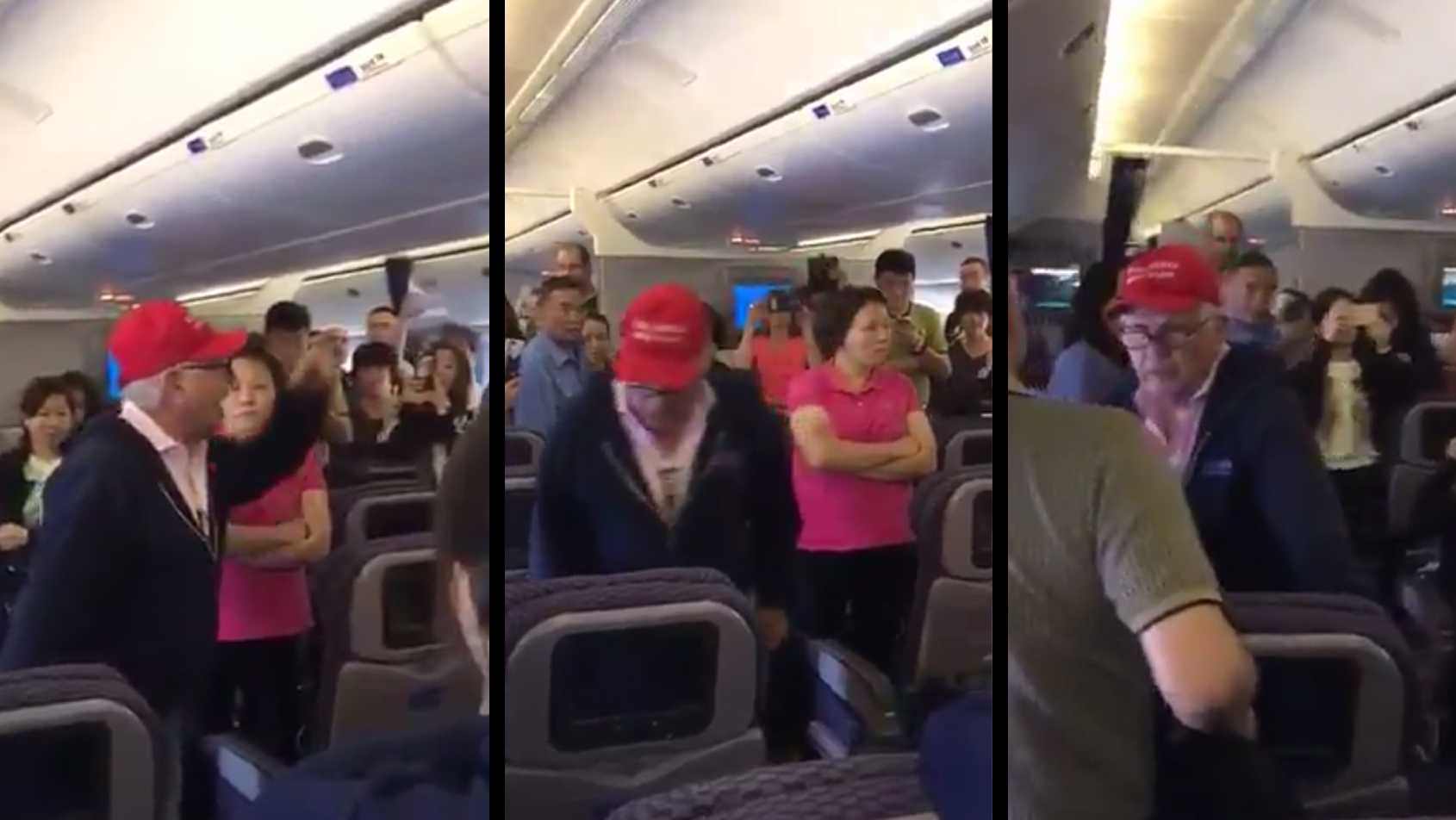 A man wearing a Make America Great Again hat caused a disruption on a United Airlines flight from Shanghai to Newark, forcing the plane to land at San Francisco International Airport. The incident was posted on social media by several passengers, including Daniel O'Connell. These still images were taken from a video posted by O'Connell.