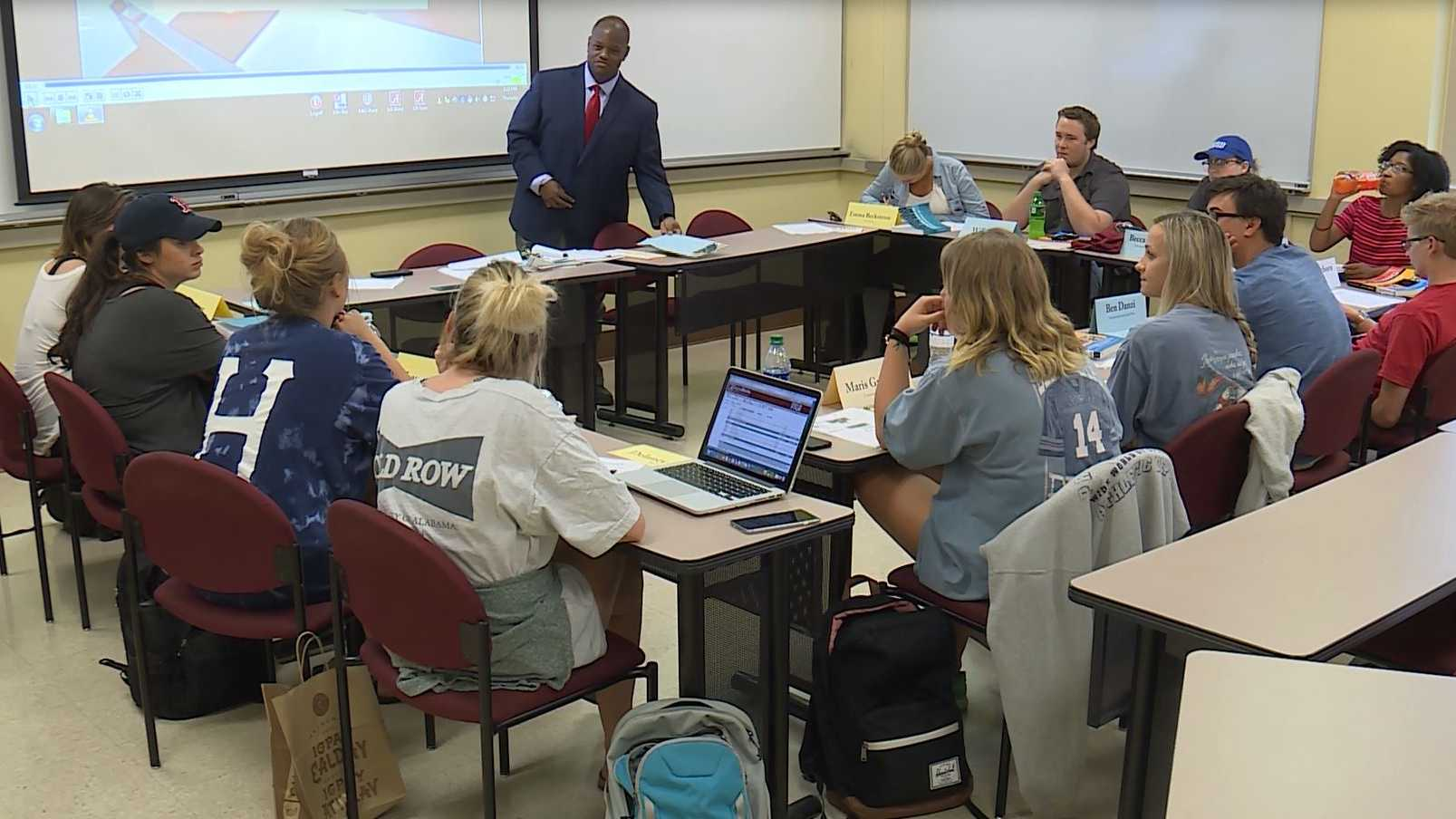 University of Alabama class discusses racial incidents after a student was suspended for social media comments
