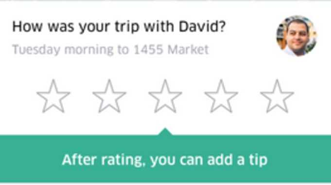 Uber tip option