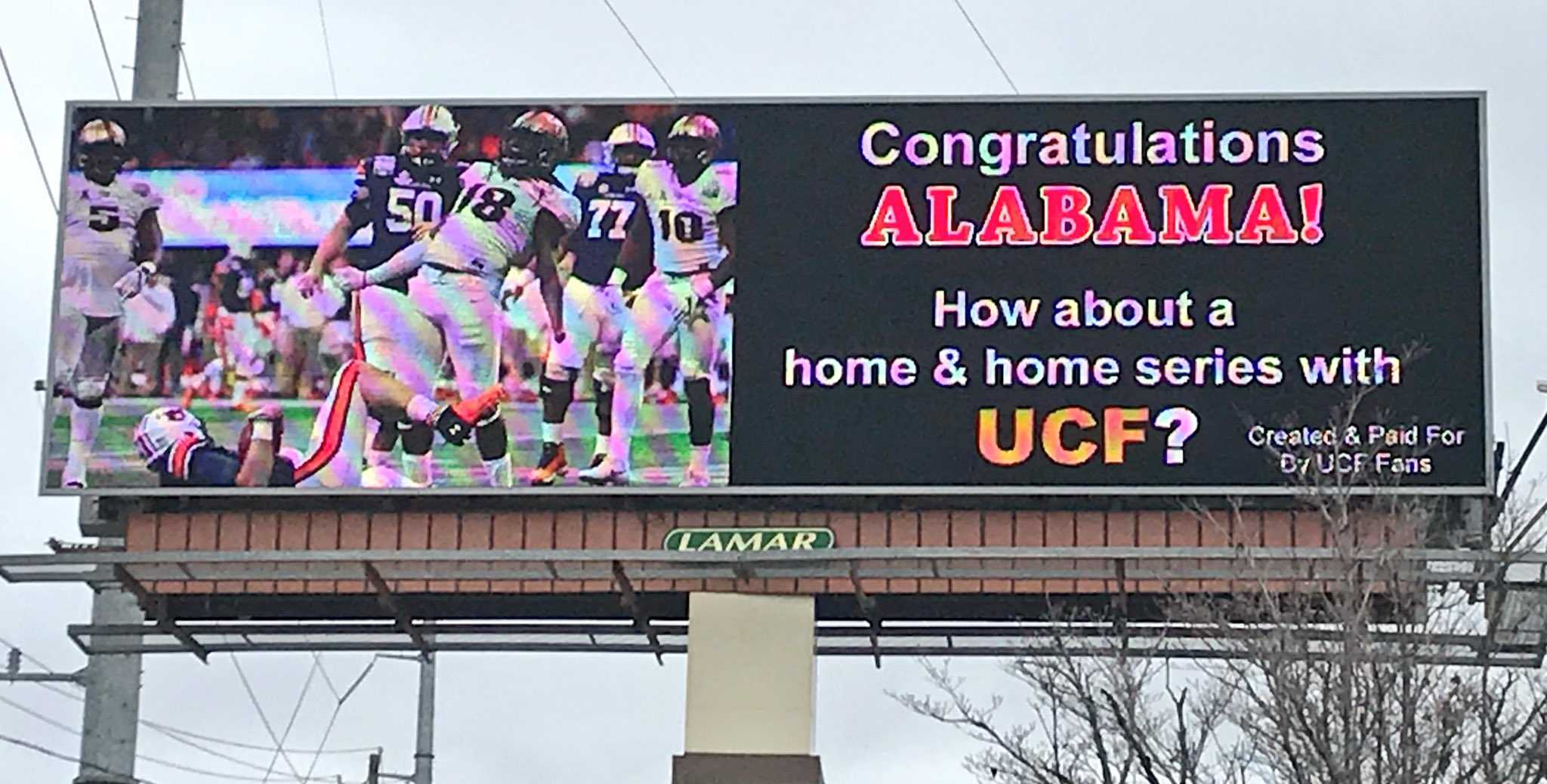 UCF challenges Alabama to game with Tuscaloosa billboard
