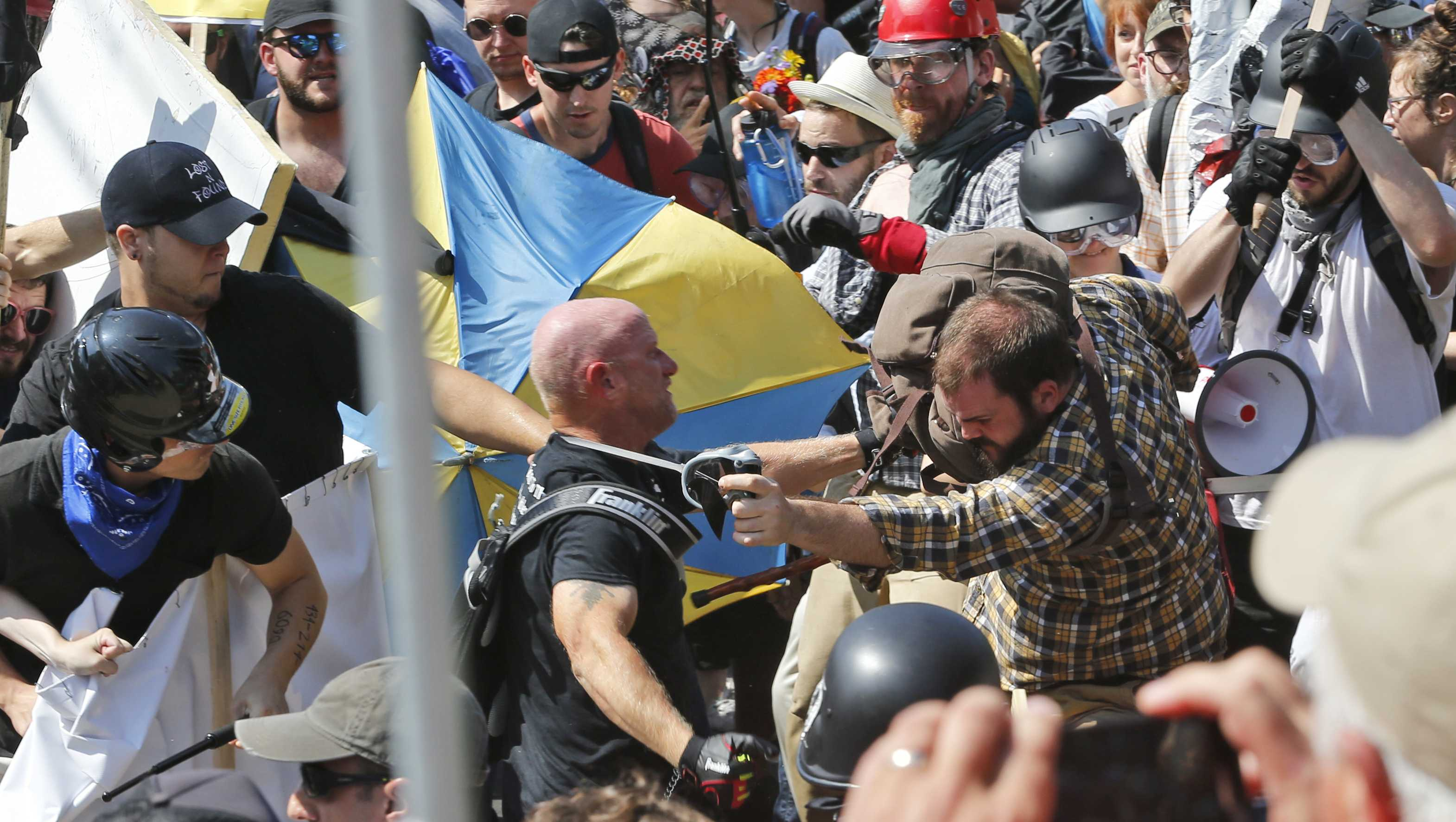 Violence broke out at a Unite the Right rally in Virginia on Saturday.